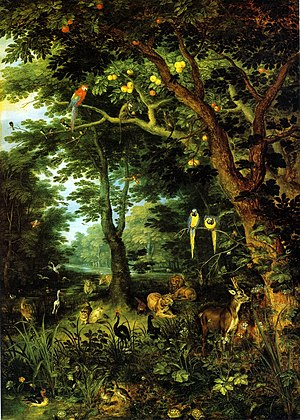 Jan Brueghel the Younger - Paradise by Jan Brueghel the Younger (c. 1620). Oil on oak. Gemäldegalerie, Berlin, Germany