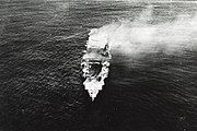 Japanese aircraft carrier Hiryu adrift and burning on 5 June 1942 (NH 73065)