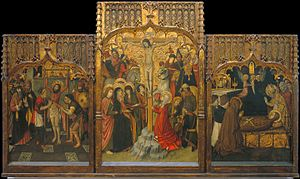 Jaume Huguet - Martyrdom of Saint Bartholomew, Calvary and Death of Saint Mary Magdalene - Google Art Project.jpg
