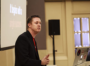 Appcelerator's co-founder and CEO Jeff Haynie, giving a talk at a February 2013 conference in Valencia, Spain