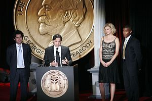 Jeffrey Reiner - Jeffrey Reiner, Jason Katims, Adrianne Palicki and Gaius Charles accept Peabody Award for Friday Night Lights, June 2007