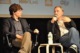 Eisenberg and Fincher at the 2010 New York Film Festival