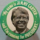 A campaign button from Carter's 1976 presidential campaign.