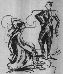 Pen en inkt schets showing slank, art-deco-stijl cijfers van John en Ethel Barrymore