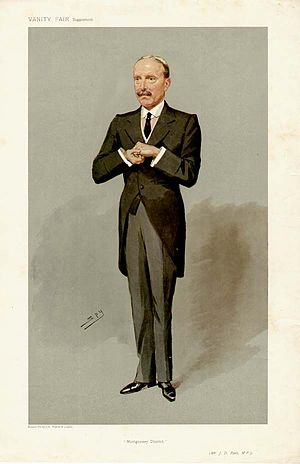 "John David Rees - ""Montgomery District"" Rees as caricatured by Spy (Leslie Ward) in Vanity Fair, February 1907"