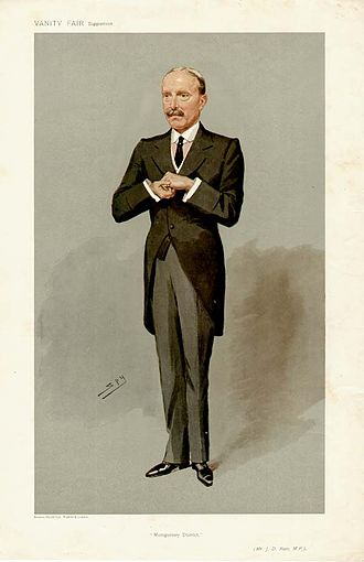 """John David Rees - """"Montgomery District"""" Rees as caricatured by Spy (Leslie Ward) in Vanity Fair, February 1907"""