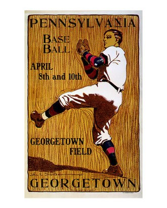 Penn Quakers - Poster for University of Pennsylvania vs Georgetown University baseball game, circa 1901, by John E. Sheridan.
