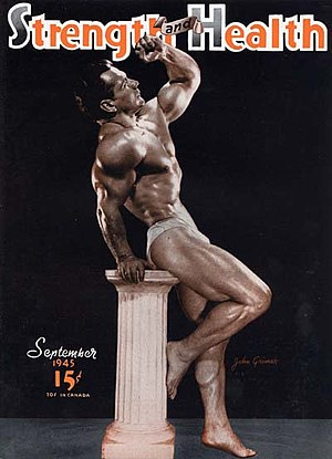 Universe Championships - John Grimek, the first Mr. Universe, posing for the magazine organizing the event