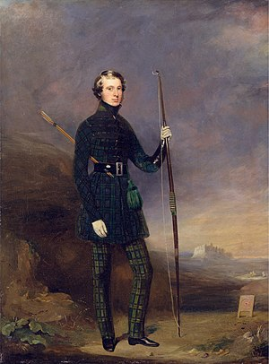 John Logan Campbell (politician) - John Logan Campbell in the club dress of the Edinburgh Alleion Archers (Mungo Burton, 1838)