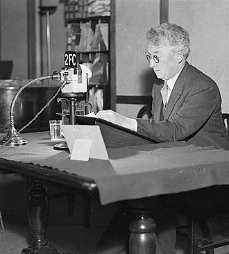 Radio National - Prime Minister Joseph Lyons preparing to make a broadcast on 2FC Sydney.