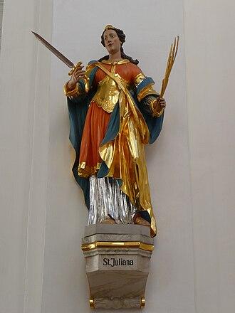 Juliana of Nicomedia - Statue of St. Juliana in Jesuit church in Heidelberg, Germany