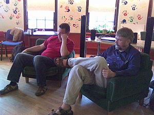Kimmo Wilska - Kimmo Wilska (right) interviewing writer Jussi Förbom.