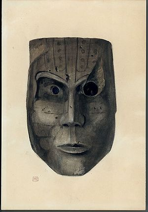 "Key Marco - Carved and painted mask excavated from the ""Court of the Pile Dwellers""."