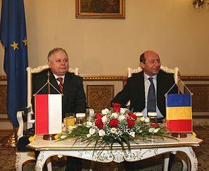 Traian Băsescu - Traian Băsescu with Lech Kaczyński in February 2007