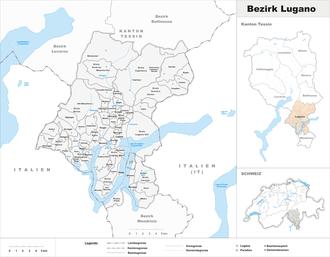 Lugano District - Image: Karte Bezirk Lugano 2012