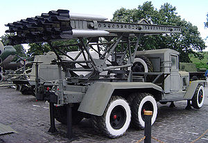 Rocket (weapon) - Katyusha rocket launcher, one of the earliest modern rocket artillery weapons