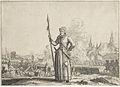 Kenau Simonsdochter Hasselaer met op de achtergrond het beleg van Haarlem - Kenau Simonsdr Hasselaer in front of the siege of Haarlem.jpg
