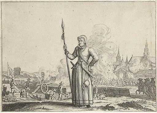 Kenau Simonsdochter Hasselaer met op de achtergrond het beleg van Haarlem - Kenau Simonsdr Hasselaer in front of the siege of Haarlem
