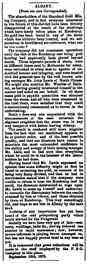 Kendenup, Western Australia - Report of discovery and disappointment, from The Western Australian Times, 21 September 1875