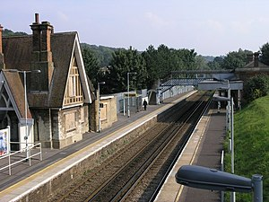 Kenley railway station - Kenley station, viewed from the road bridge on Hayes Lane