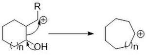 Ring expansion and ring contraction - The bond migration step of the pinacol type rearrangement.