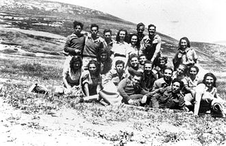 HaZore'a - Yiftach Brigade members from Ein Harod on training week at HaZore'a, April 1948