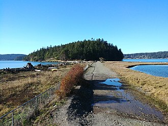 Kiket Island - Kiket Island seen from the Fidalgo Island side across the tombolo, while the two islands are connected