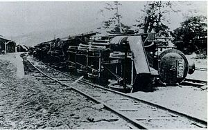 Miyazu Line - A train at Amino station derailed by the 1927 North Tango earthquake