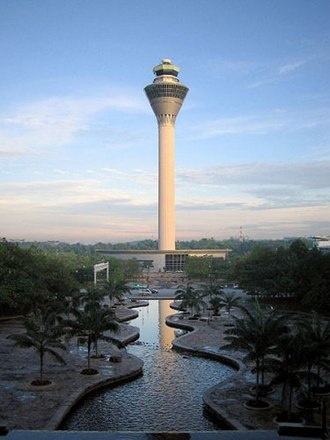 Air traffic control - Airport traffic control tower 1 (ATCT-1) at Kuala Lumpur International Airport, Malaysia.