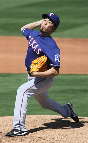 Koji Uehara - Uehara pitching for the Texas Rangers in 2012