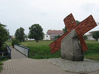 1982 demonstrations in Poland - A cross to commemorate Michal Adamowicz from Lubin, who was shot in the back of the head on the nearby bridge