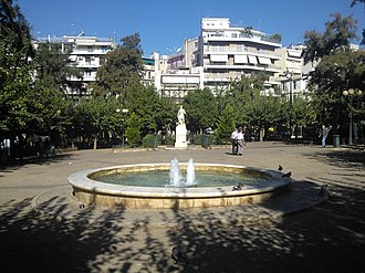 Kypseli, Athens - Kypseli Square with Kanaris Statue in 2013
