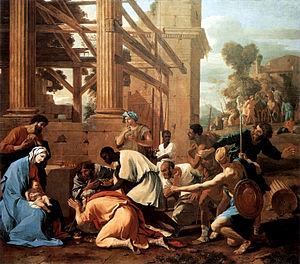 Adoration of the Shepherds (Poussin) - Poussin's The Adoration of the Magi, dated 1633, Dresden