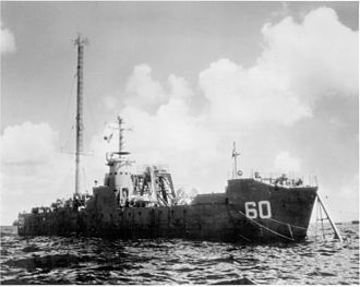 USS LSM-60 - LSM-60 with modifications for the Baker Test, Bikini Atoll