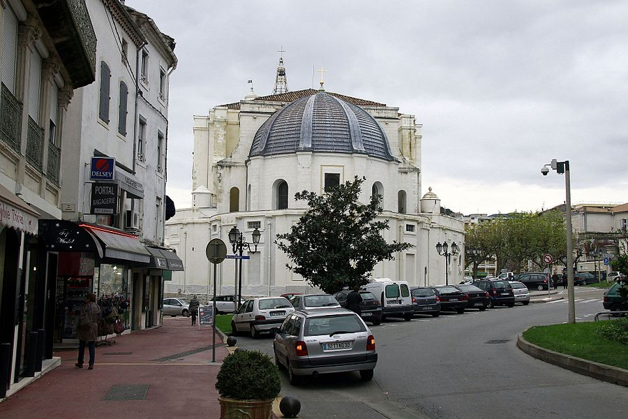 The Cathedral Saint Jean of Ales. Old gray and dilapidated facade, the building has undergone restorations sinds ten years ago.