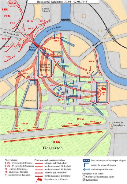 Asalto de Reichstag. Berlin 1945.