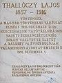 Lajos Tallóczy plaque, 2019 Herceghalom.jpg