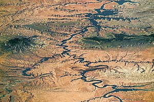 Lake Powell - Lake Powell and Grand Staircase-Escalante from space, 2016. Note that North is to lower right.  Photo shows nearly the entire length of Lake Powell.
