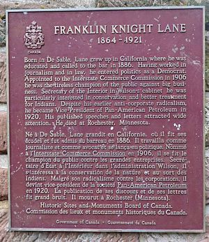 Franklin Knight Lane - Plaque erected near Lane's birthplace, DeSable, Prince Edward Island
