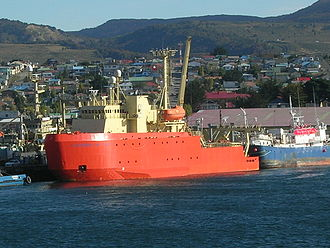 Punta Arenas - Ice breaker RV ''Laurence M. Gould'' in Punta Arenas. Punta Arenas is an important point in the supply of Antarctic bases in West Antarctica.