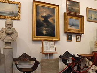 San Lazzaro degli Armeni - The Armenian museum. The painting in the middle is Ivan Aivazovsky's Chaos (1841).