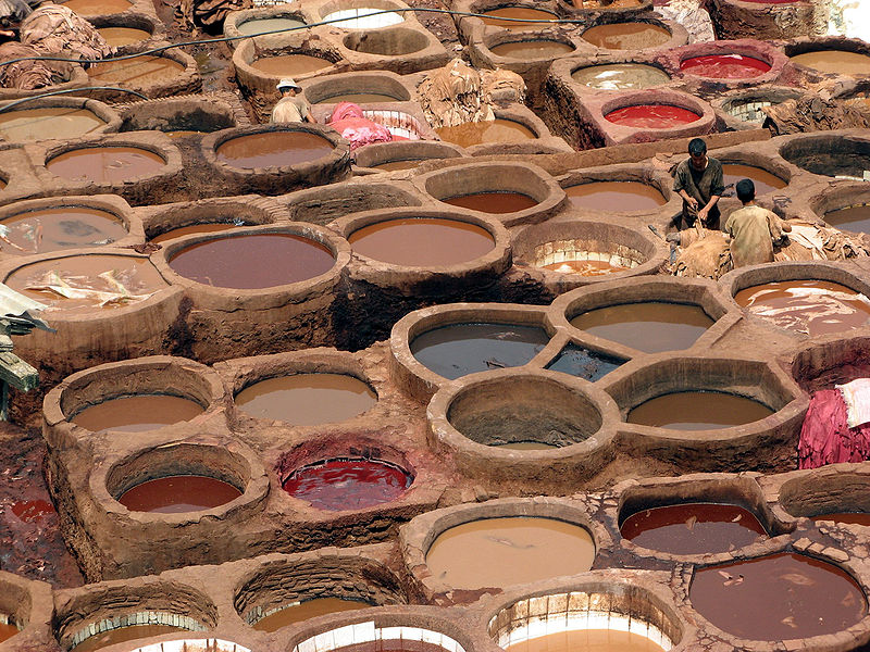 File:Leather dyeing vats in Fes.jpg