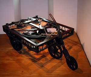 Leonardo's self-propelled cart - A self-propelled cart replica at museum Clos Lucé