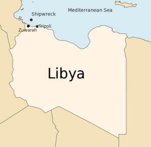 2009 Mediterranean Sea migrant shipwreck - Location of the shipwreck