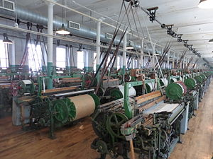 Line shaft - Line shaft and power looms at Boott Mills, Lowell, Massachusetts