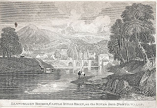 Llangollen bridge, castle Dinas Bran, on the river Dee: north Wales