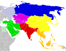 UN geoscheme subregions of Asia: Central Asia Western Asia Southern Asia Eastern Asia Southeastern Asia Asian part of Russia in the Eastern Europe UN geoscheme subregion