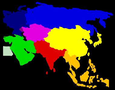 Asya ülkeleri renkli gösterilmiştir