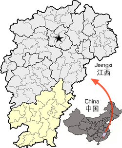 Location of Ganzhou City jurisdiction in Jiangxi