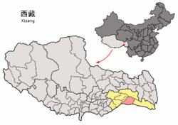 Location of Mêdog County (yellow) within Nyingchi City (yellow) and the Tibet Autonomous Region